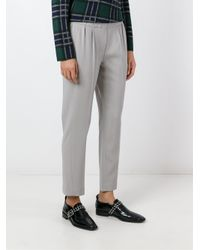 Brunello Cucinelli - Gray High-waisted Trousers - Lyst