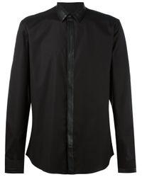 Les Hommes   Black - Contrast Fastening Shirt - Men - Cotton/spandex/elastane - 54 for Men   Lyst