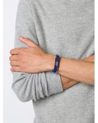M. Cohen - Blue Contrast 'knotted Wrap' Bracelet for Men - Lyst