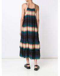 Apiece Apart Blue Striped Ruffle Hem Dress