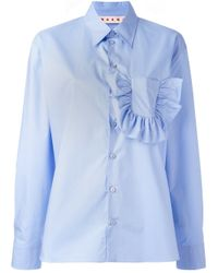 Marni | Blue Shirt In Crispy Cotton With Ruffles And Slits | Lyst