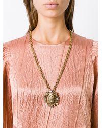 Oscar de la Renta - Metallic Bold Cameo Pendant Necklace - Lyst