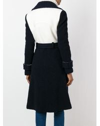 Diane von Furstenberg - Blue Belted Colour Block Coat - Lyst