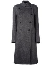 Ann Demeulemeester   Gray Double Breasted Coat   Lyst