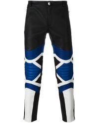 Les Hommes   Black Panelled Biker Trousers for Men   Lyst