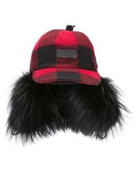 DSquared² | Black Check Wool Felt & Murmansky Fur Hat | Lyst