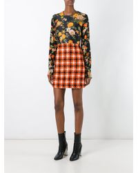 MSGM - Multicolor Silk & Plaid Dress - Lyst