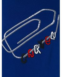 Carven - Blue Embroidered Paper Clip Sweatshirt for Men - Lyst
