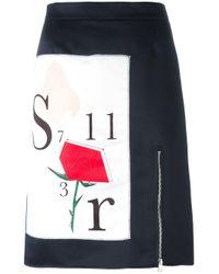 Au Jour Le Jour | Blue - Front Print Skirt - Women - Polyamide/polyester/spandex/elastane/viscose - 42 | Lyst