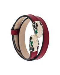 BVLGARI - Red Snake Embellished Double Bracelet - Lyst