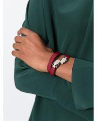 BVLGARI - Red Snake Embellished Double Bracelet - Lyst
