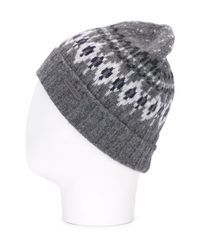 Woolrich - Gray Intarsia Check Beanie for Men - Lyst