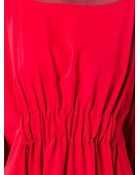 MM6 by Maison Martin Margiela - Red Knit Trim Wide T-shirt Dress - Lyst