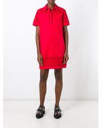 KENZO - Red Logo Print Shirt Dress - Lyst