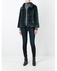 Armani Jeans - Blue 'seed' Cropped Jacket - Lyst