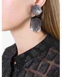 Monies - Gray Double Stone Earrings - Lyst
