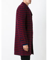 Mp Massimo Piombo - Red Checked Coat for Men - Lyst