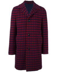 Mp Massimo Piombo | Red Checked Coat for Men | Lyst