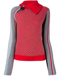 Carven - Red Zipped Collar Jumper - Lyst