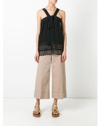 N°21 - Natural Wide-legged Cropped Trousers - Lyst