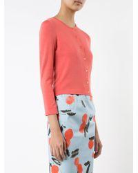 Carolina Herrera - Pink Three Quarter Sleeve Cardigan - Lyst