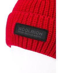 Woolrich - Red Knitted Logo Patch Beanie for Men - Lyst