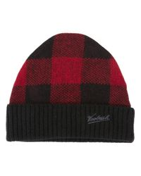 Woolrich - Black Knitted Logo Embroidered Beanie for Men - Lyst