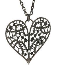 Ferragamo | Black Heart Pendant Necklace | Lyst
