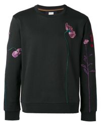 Paul Smith | Black Floral Embroidery Sweatshirt for Men | Lyst