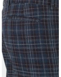 Paul Smith - Blue Pleat Detail Plaid Trousers for Men - Lyst