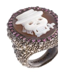 Amedeo - Multicolor Embossed Skull Ring - Lyst