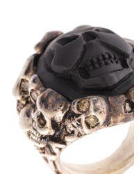 Amedeo - Black Embossed Skull Ring - Lyst