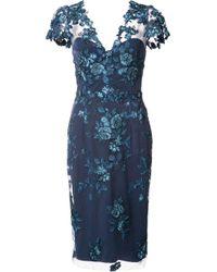 Notte by Marchesa | Blue Floral Lace Midi Dress | Lyst
