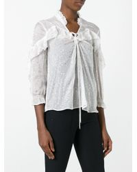 Just Cavalli - White Dotted Print Blouse - Lyst
