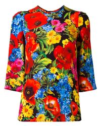 Dolce & Gabbana | Multicolor Floral Print Top | Lyst