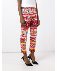 Dolce & Gabbana | Red Mambo Print Trousers | Lyst