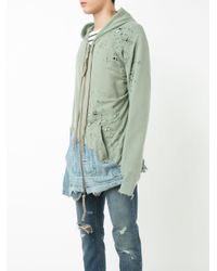 Greg Lauren - Green Denim Merged Zip Hoodie for Men - Lyst