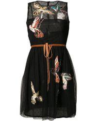 RED Valentino | Black Bird Patch Sheer Dress | Lyst