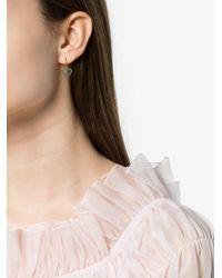 Rosa De La Cruz Metallic Turquoise Heart Gold Earrings