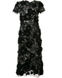 Marchesa | Black Flower Embellished Flared Dress | Lyst