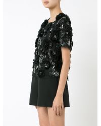Marchesa | Black Sequinned Floral Blouse | Lyst