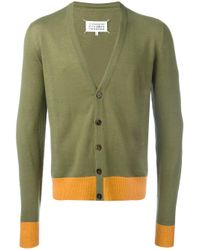 Maison Margiela | Green - Elbow Patch Cardigan - Men - Linen/flax/calf Leather/wool - S for Men | Lyst