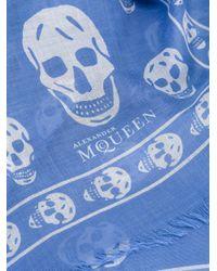 Alexander McQueen | Blue Skull Scarf | Lyst