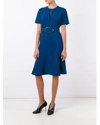 Stella McCartney   Blue Belted Keyhole Detail Dress   Lyst