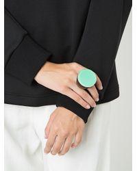 Monies - Green Flat Disc Top Ring - Lyst