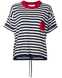 Vanessa Bruno Athé | Blue Striped Knitted T-shirt | Lyst