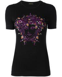 Versace | Black Embroidered Floral Medusa Head T-shirt | Lyst