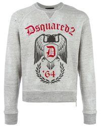 DSquared² | Gray Logo Eagle '64 Emblem Print Hoodie for Men | Lyst
