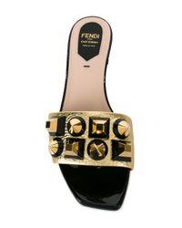 Fendi - Metallic Chunky Stud Sandals - Lyst