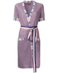 Missoni | Purple Zig-zag Shortsleeved Belted Cardigan | Lyst